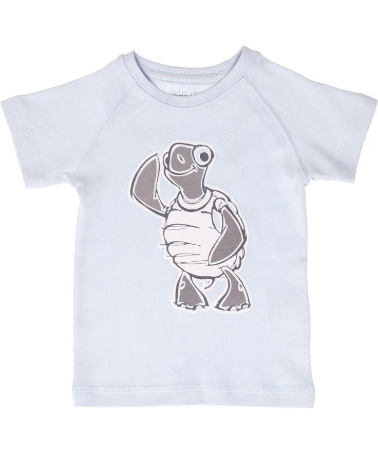 Wheat lichtblauwe t-shirt met grappige schildpad. wheat.nl.emilea.be