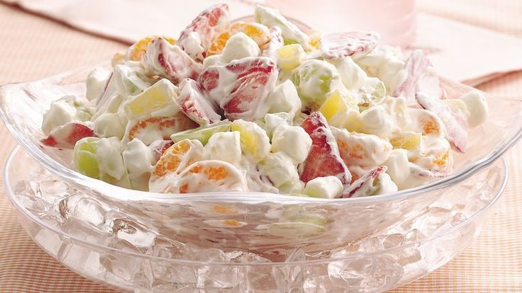 Here's a delightful make-ahead salad that serves eight. With marshmallows in the mix, kids will gobble it up! Make it your way with the variation below.