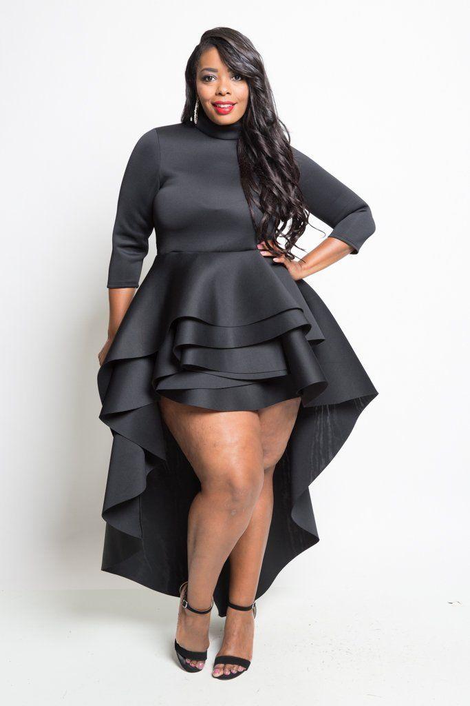 Plus Size Glam Cascade Tail Mini Dress