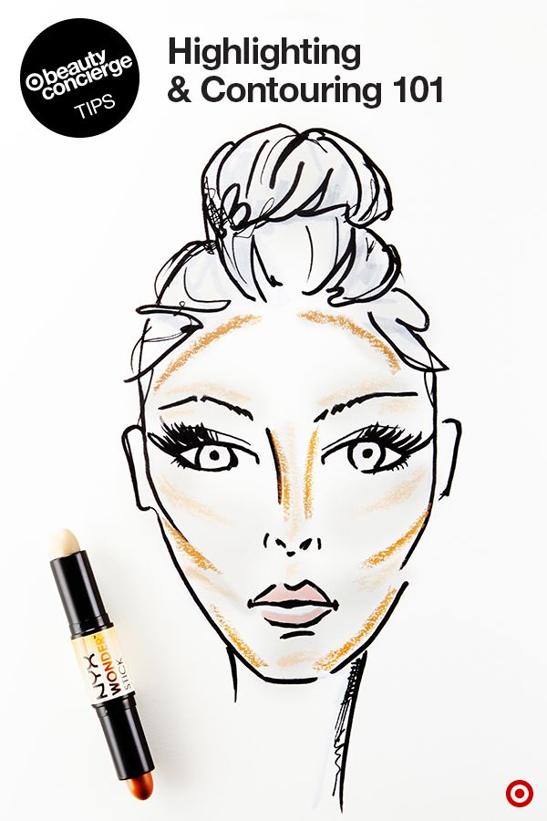 HOW-TO Contour & Highlight: Sculpt your face in 3 easy steps with Target Beauty Concierge tips. 1. Using the light end of a NYX Wonder Stick, highlight the tops of cheekbones, above and below eyebrows, on the bridge of the nose, above the upper lip, along the jawline, and on the chin. 2. With the dark end, contour down the sides of the nose, in hollows of the cheeks, and just below the jawbone. 3. Blend with a sponge and you're done! Find more of our product picks at…