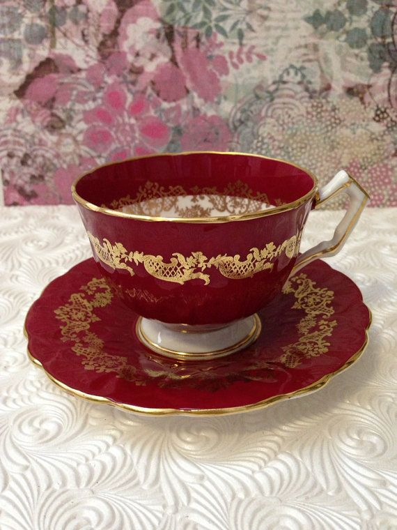 Hard to Find Vintage Aynsley Deep Red Teacup- Excellent via Etsy