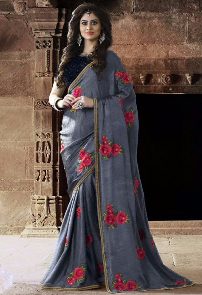 Grey Designer Rajsthani Resham Saree@ fashionsbyindia.com #designs #indian #fashion #womens #style #cloths #fashion #stylish #casual #fashionsbyindia #punjabi #suits #saree #wedding