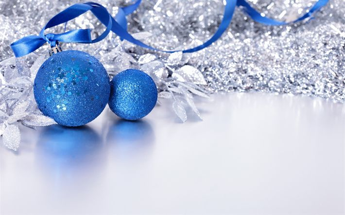 Download wallpapers blue christmas balls, New Year, 2018, Christmas, concept, decoration, blue silk ribbon