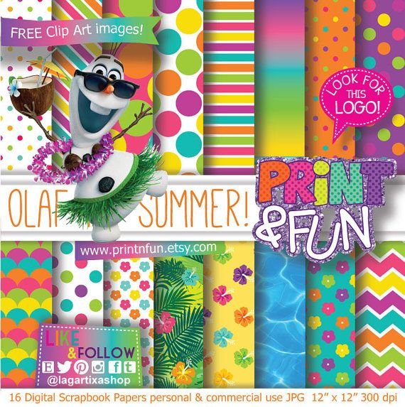 Frozen Olaf Summer Patterns Digital Paper Summer by Printnfun