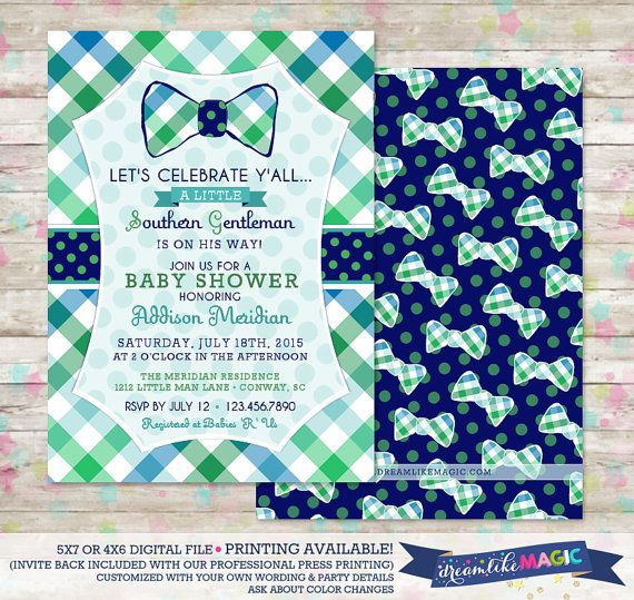 Southern Gentleman Baby Shower Invite Southern Baby Shower