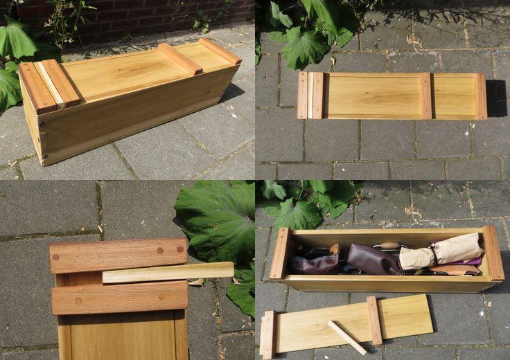 Japanese tool box made of tulipwood and elm.