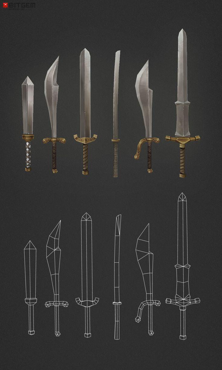 low poly swords