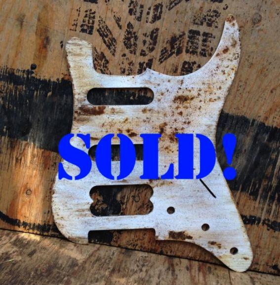 HSS recycled metal pickguard  Handmade by #rustedrelicsmusic#rustedrelicspickguards