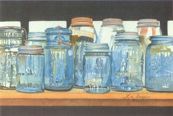 Canning Jars Art  Canning Jar Print  by LizRogersWatercolors, $15.00