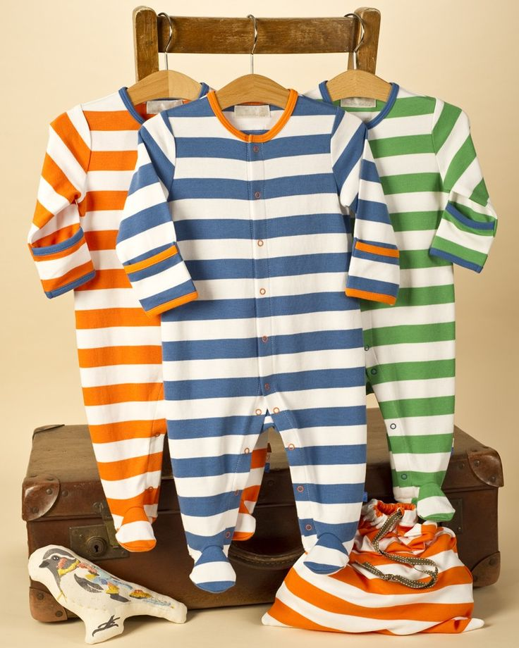 3 Pack Stripe Baby Sleepsuits - Baby Boy Sleepsuits / Baby Grows - View by Product - Baby Boys Clothes
