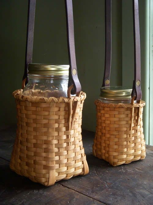 Strapped Carriers. Beautiful unique idea by Swamp Road Baskets. Note skids that protect corners.