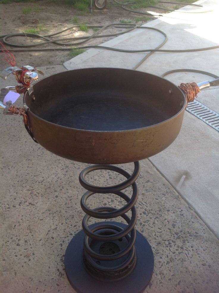 Recycled metal birdbath - made by Fiona verhagen