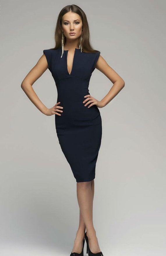 Victoria Beckham-Dark Blue DressElegant Pencil door FashionDress8