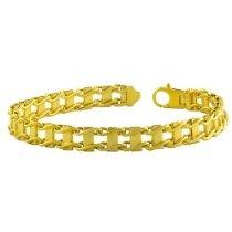 18 Karat Gold over Sterling Silver Men's Fancy Link Bracelet (8.5 Inch)