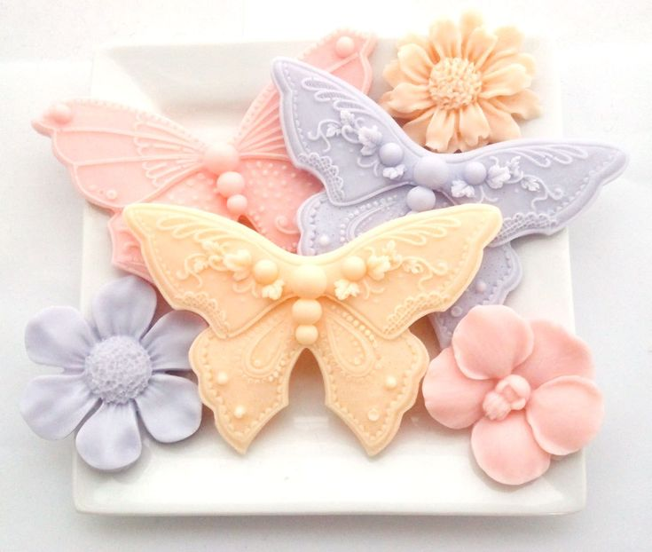 Butterfly and Flower Soaps - Decorative Soap Hostess Gift Soap Vegan Pink Orange Purple Gift Set. via Etsy.