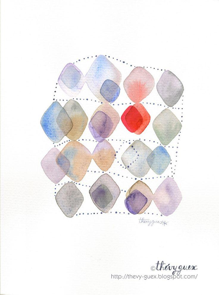 Aquarelle originale tableau d cor abstrait g om trique for Tableau bleu et gris