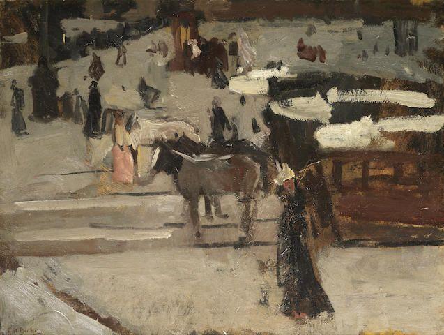 George Hendrik Breitner (Dutch, 1857-1923) Paardentrams en figuren op een plein