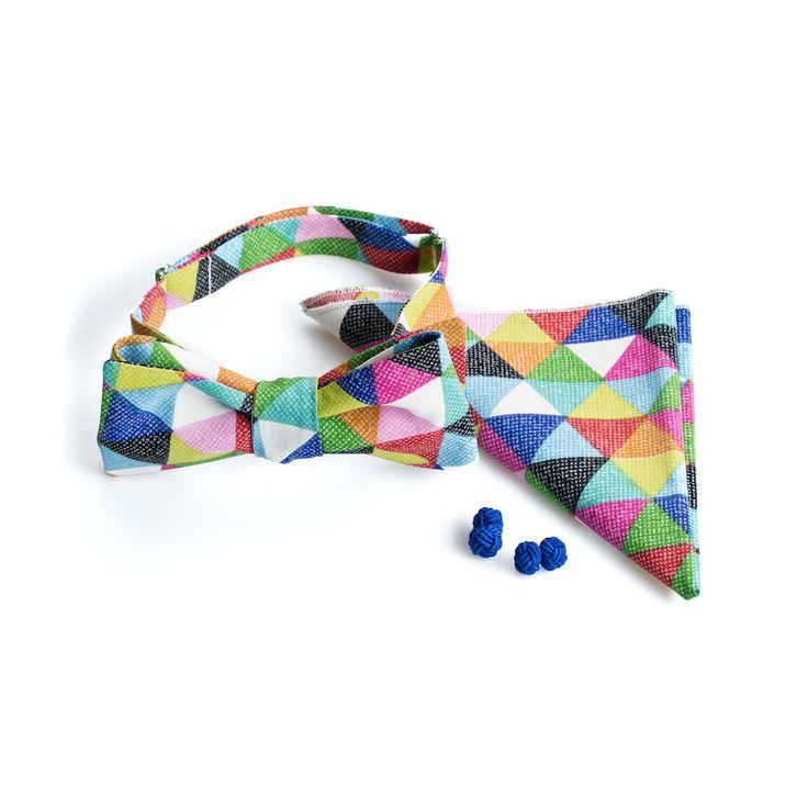 Kolorowy zestaw - mucha + poszetka + spinki - zestaw idealny na ślub i wesele :)  Do kupienia w sklepie internetowym Madame Allure!