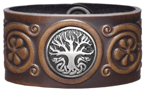 Leather Wristband Cuff 36mm Celtic Tree of Life Antiquebrown with Concho Celtic Tree of Life Snap Fasteners Nickel Free 20 Centimeters * Please continue read.