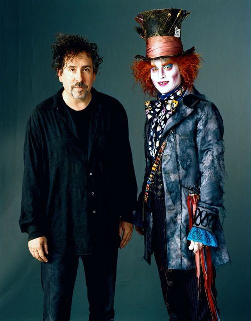 Tim Burton and Johnny Depp as Mad Hatter.