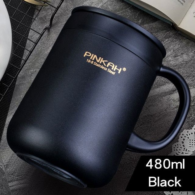 5e63755a834 Pinkah 400ML 304 Stainless Steel Thermos Mugs Office Cup With Handle With  Lid Insulated Tea mug Thermos Cup Office Thermoses-in Mugs from Home &  Garden on ...