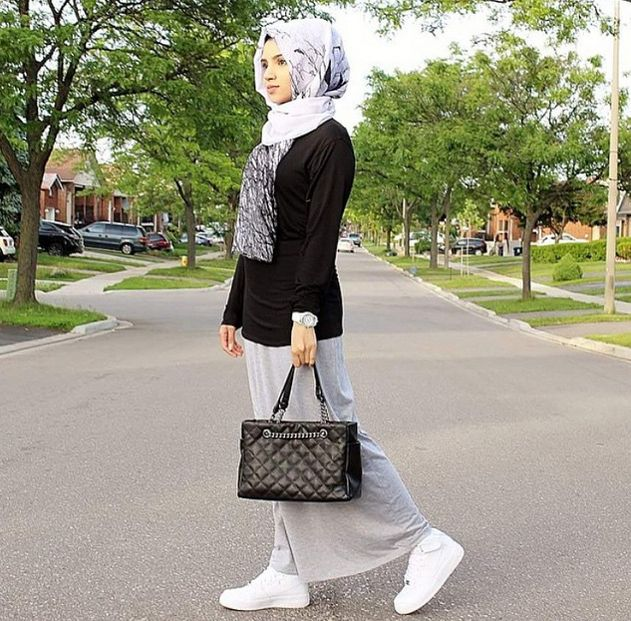 Black shirt, grey skirt, white sneakers, grey printed scarf, watch