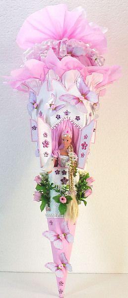 Schultüte Rapunzel rosa weiß  Pochette surprise Raiponce en rose et blanc
