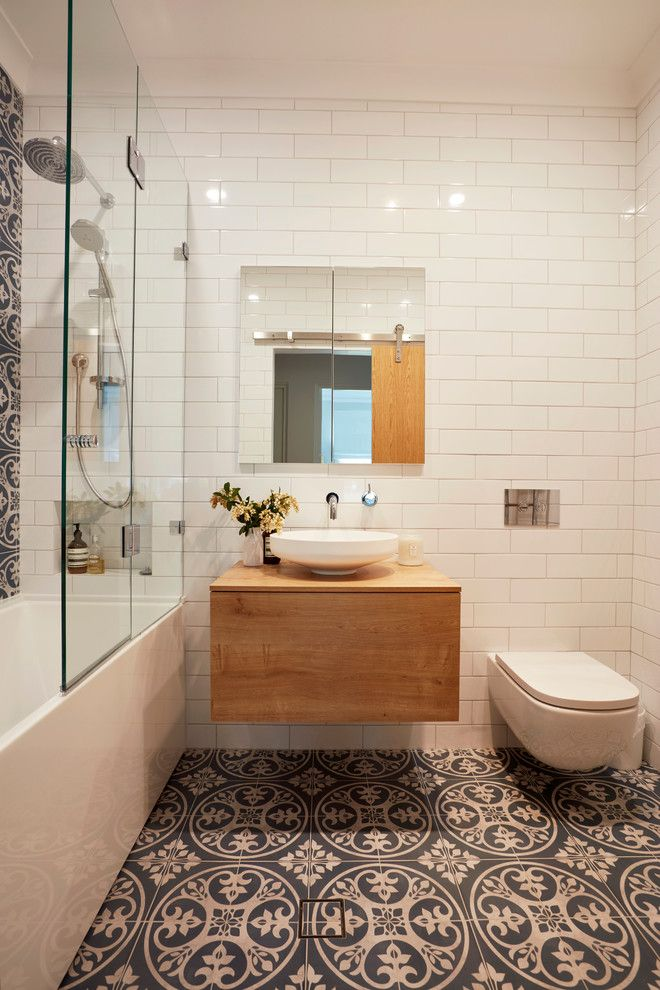 Family Bathroom White Subway Tiles Walls Ceramic Tiles Floors With  Traditional Patterns Floating Wood Vanity With White Vessel Sink Frameless  Mirror A ...
