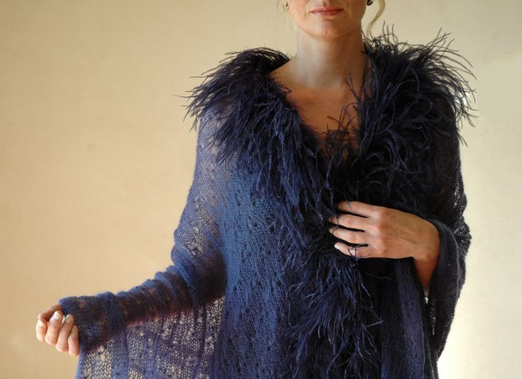 Navy lace mohair shawl