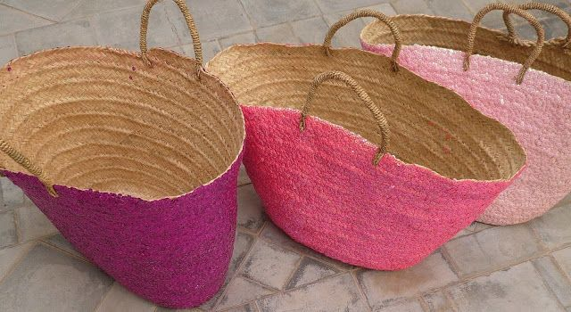 Pink hand made baskets with sequins - Marrakech