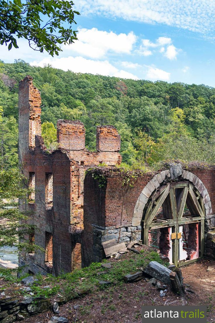 Hike to the towering ruins of a Civil War mill in Atlanta at Sweetwater Creek State Park, a filming location for The Hunger Games movie