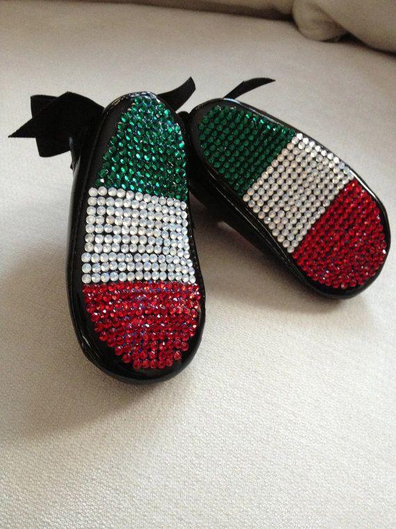 Italian Flag Crystal Baby Crib Shoes / Italian Baby by TheGlamBaby, $80.00
