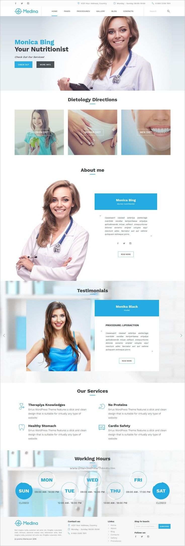 Medina is the beautiful 4in1 #WordPress theme for #webdev #personal #doctors, private clinics, plastic surgery and dental clinic websites download now➩ https://themeforest.net/item/medina-wordpress-medical-theme/19068097?ref=Datasata