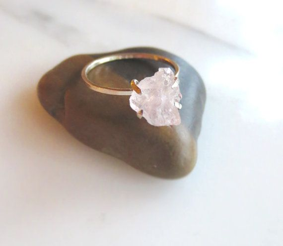 Raw Rose Quartz Ring Rough Pink Stone Ring Quartz Crystal