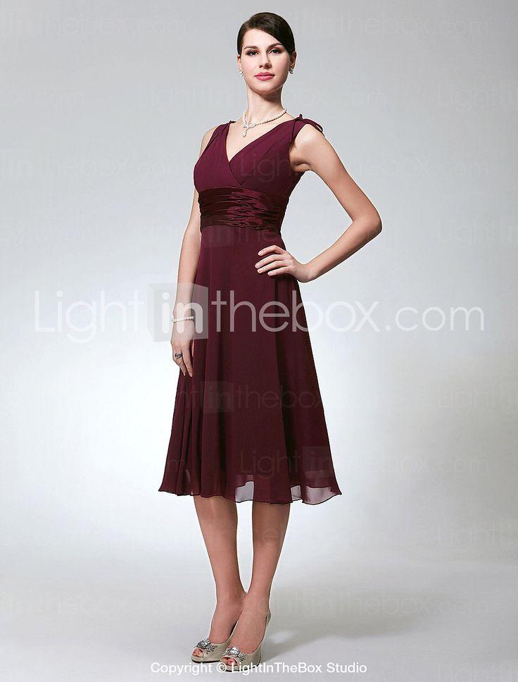 Vestito da damigella, linea-A, senza maniche, lunghezza a ginocchio, in chiffon - EUR € 69.99