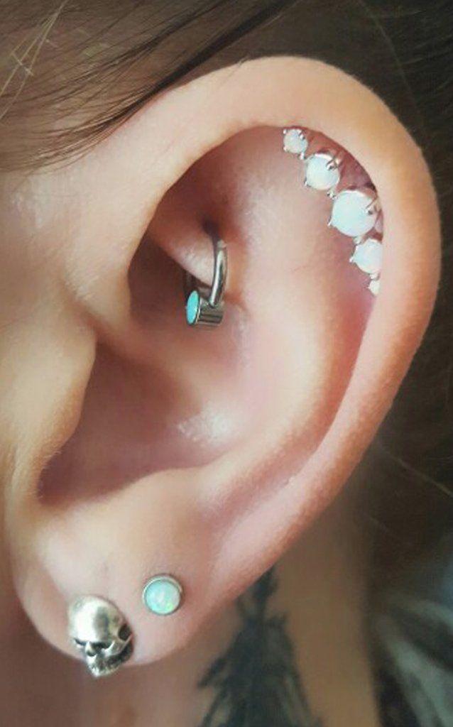 Cute Ear Piercing Ideas at MyBodiArt.com - Opal Cartilage Earring 16G - Turquoise Rook Hoop Ring - Skull Earring