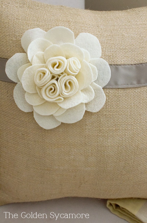 felt flower.  The Golden Sycamore: Embellished Burlap Pillow Tutorial
