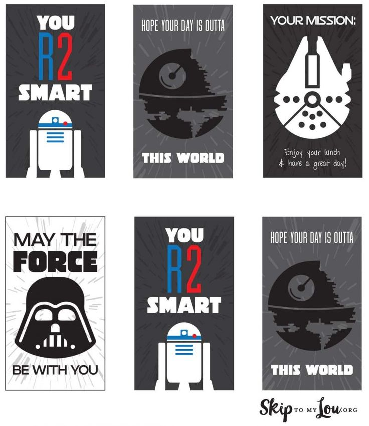 Free Printable Star Wars Lunch Box Notes                                                                                                                                                                                 More