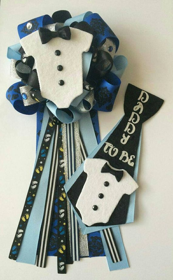 Bow Tie Baby Shower Corsage Daddy to Be pin by fourDOLLYSboutique