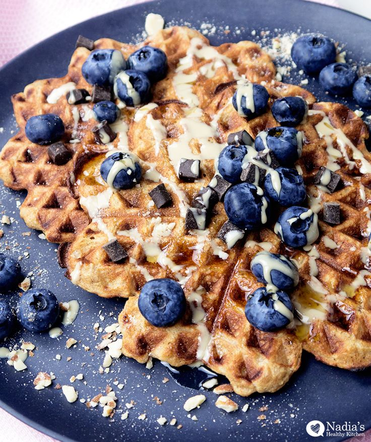 Healthy Oat Waffles - A perfect health weekend breakfast that tastes like a treat! It's gluten-free, dairy-free and can easily be made vegan.