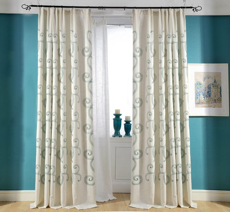 Teal Scroll Embroidery Linen & Cotton Custom Made Curtain(Pinch pleat top). This beautiful curtain has excellent draping properties and it will add a touch of style to any room. Fabric of this curtain: Linen and Cotton. ♥ For the curtain width, this pleated drape is already ''gathered'' so 50'' wide curtain panel will cover 50'' wide window with great fullness. For the curtain height, please measure from the bottom of the curtain track for pinch pleat top.♥ Please request a custom order…