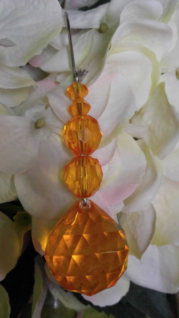 Yellow Orange Crystal Style Drop Prism Beaded Christmas Holiday Tree Ornament Vintage by Juwannashop
