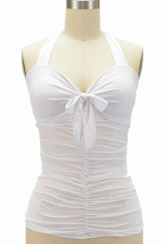 marty maraschino ruched & tied pinup halter top - blanche white