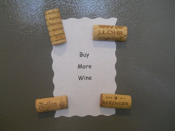 Wine Cork Magnets  Set of 4. No Two Are by KatsWineCorkCrafts