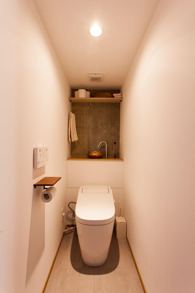 トイレ 手洗い器 紙巻き器 トイレ収納 マンション リノベーション Ecodeco エコデコ I様邸方南町 小さなトイレ リノベーション マンション 収納