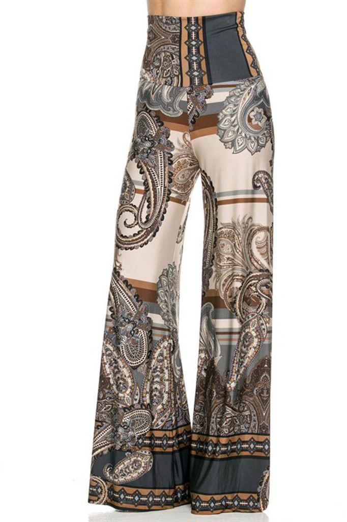 High Waist Fold Over Wide Leg Gaucho Palazzo Pants (Gray Beige Damask) – Niobe Clothing