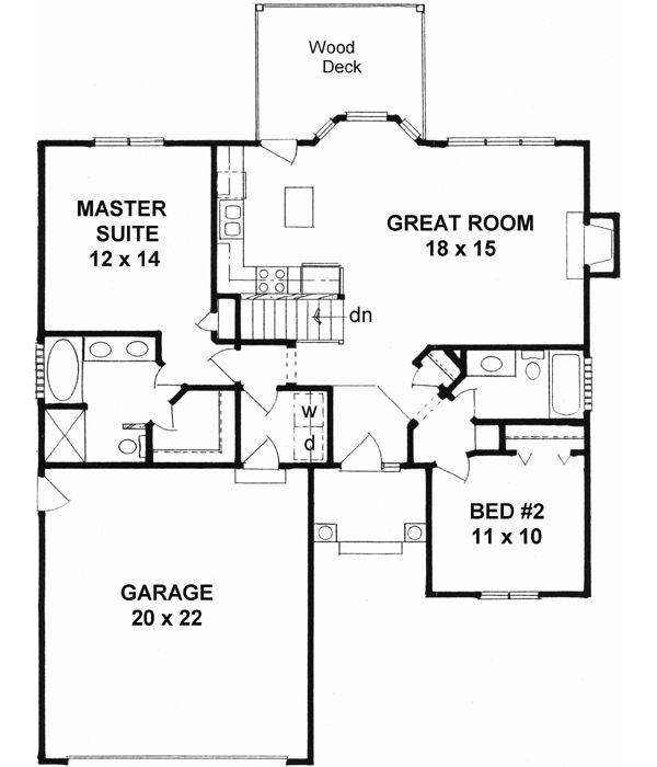 house plans 1091 square foot home 1 story 2 bedroom and 2 bath 2