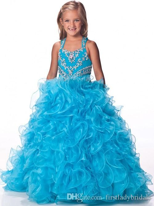 Junior Pageant Dresses ,Sky Blue Organza Ball Gown, Long Floor Length Beaded Crystals, 2015 Beaded Crystals Custom Made Girls Special Party Baby Party Dresses, Beautiful Gowns