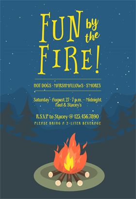 """""""Bonfire bug"""" printable invitation template. Customize, add text and photos. Print or download for free!"""