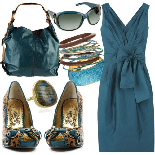 Pretty! Love this teal color...and the leopard shoes of course!